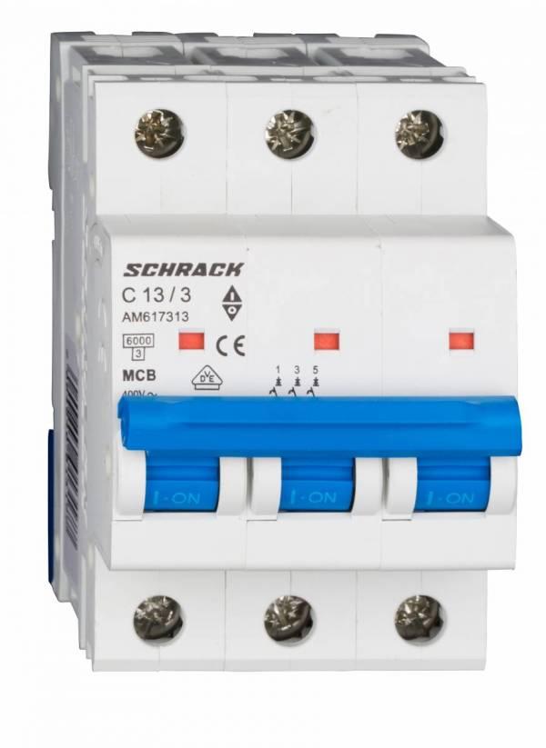 Miniature Circuit Breaker (MCB) AMPARO 6kA, C 13A, 3-pole