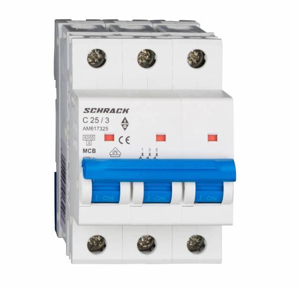 Miniature Circuit Breaker (MCB) AMPARO 6kA, C 25A, 3-pole