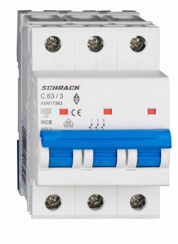Miniature Circuit Breaker (MCB) AMPARO 6kA, C 63A, 3-pole