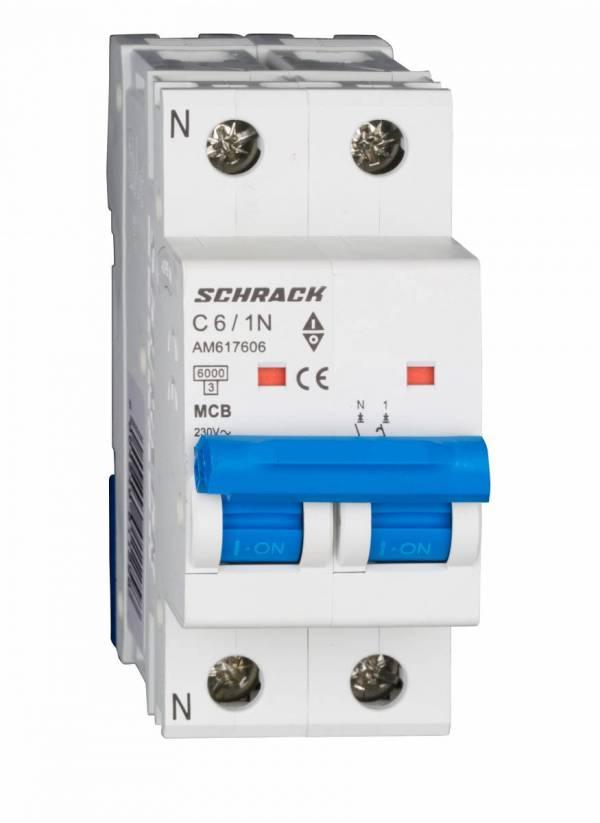Miniature Circuit Breaker (MCB) AMPARO 6kA, C 6A, 1+N