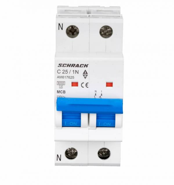 Miniature Circuit Breaker (MCB) AMPARO 6kA, C 25A, 1+N