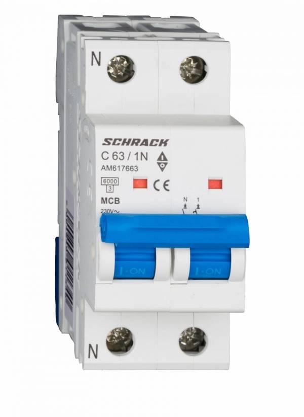 Miniature Circuit Breaker (MCB) AMPARO 6kA, C 63A, 1+N