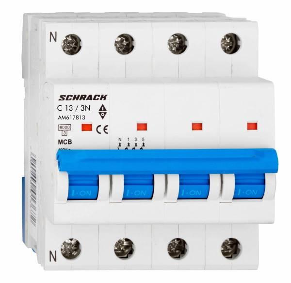 Miniature Circuit Breaker (MCB) AMPARO 6kA, C 13A, 3+N