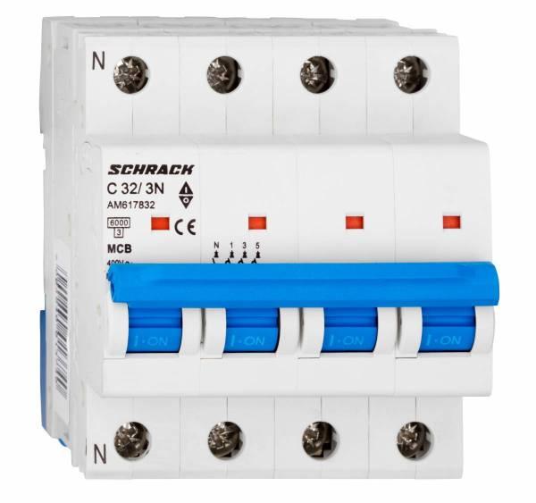 Miniature Circuit Breaker (MCB) AMPARO 6kA, C 32A, 3+N