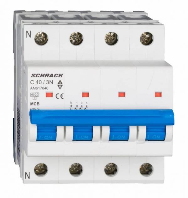 Miniature Circuit Breaker (MCB) AMPARO 6kA, C 40A, 3+N