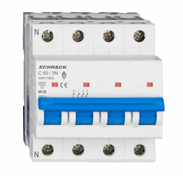 Miniature Circuit Breaker (MCB) AMPARO 6kA, C 50A, 3+N