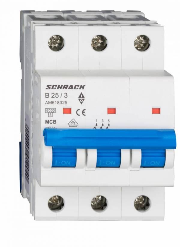 Miniature Circuit Breaker (MCB) AMPARO 6kA, B 25A, 3-pole