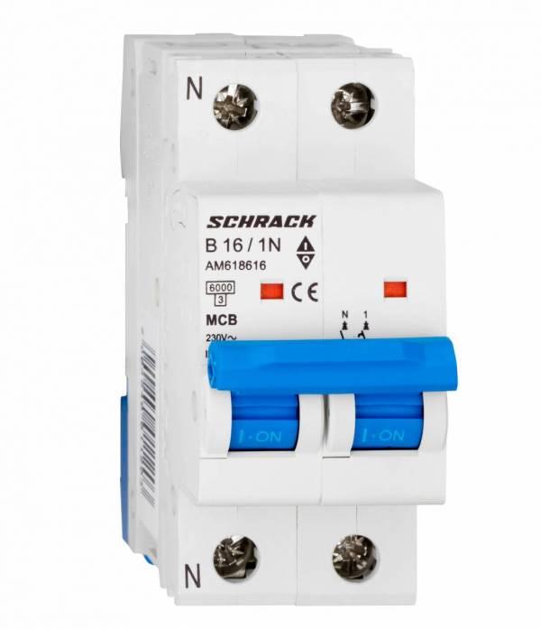 Miniature Circuit Breaker (MCB) AMPARO 6kA, B 16A, 1+N