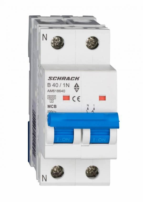 Miniature Circuit Breaker (MCB) AMPARO 6kA, B 40A, 1+N