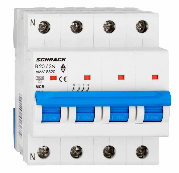 Miniature Circuit Breaker (MCB) AMPARO 6kA, B 20A, 3+N