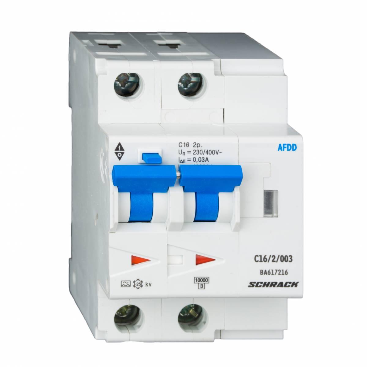 AFDD, series Lisa, B 32 A, 2-pole, 30 mA, type AC, 6 kA