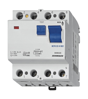 Residual current circuit breaker 100A, 4-pole, 30mA, type AC