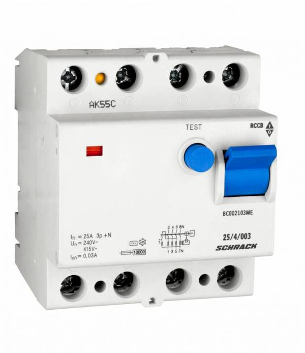 Residual current circuit breaker 25A, 4-pole, 30mA, type AC