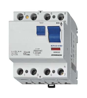 Residual current circuit breaker 25A, 4-pole, 100mA, type AC
