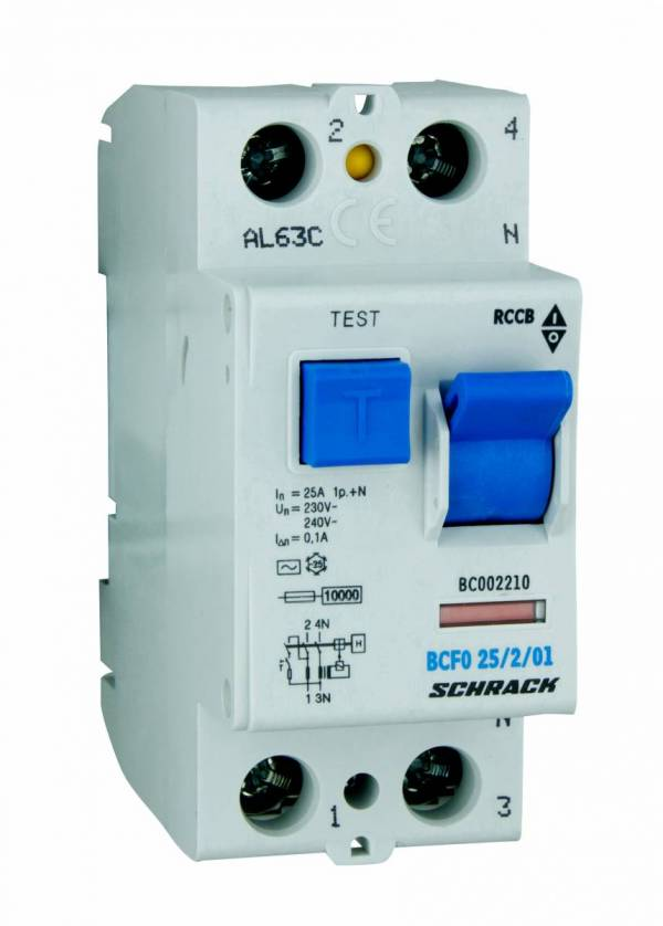 Residual current circuit breaker 25A, 2-pole, 100mA, type AC