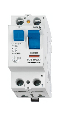 Residual current circuit breaker 25A, 2-pole, 300mA, type AC