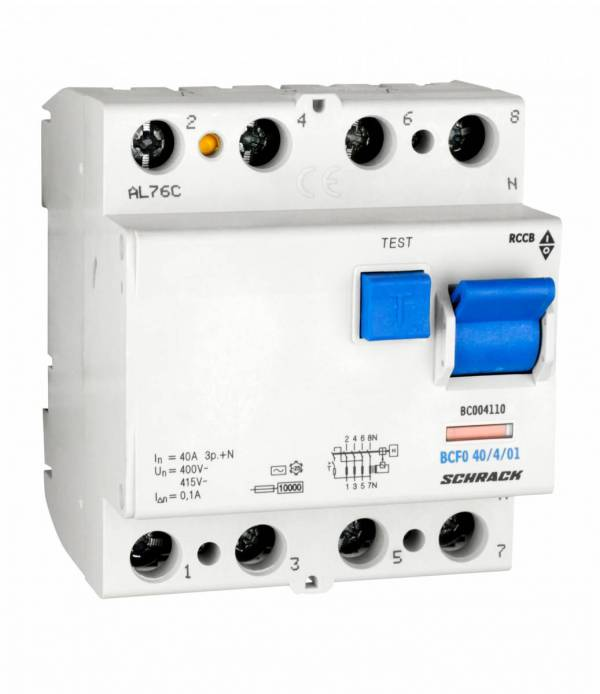 Residual current circuit breaker 40A, 4-pole, 100mA, type AC