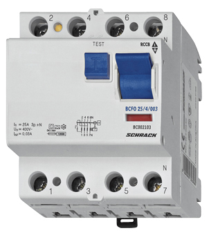 Residual current circuit breaker 63A, 4-pole, 100mA, type AC