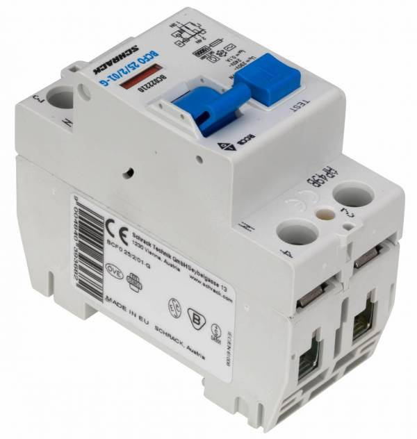 Residual current circuit breaker 25A, 2-p, 100mA, type AC,G