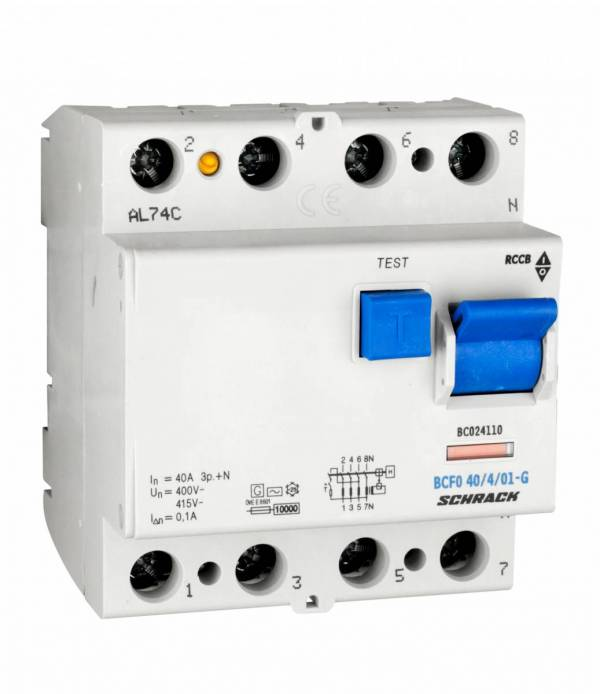 Residual current circuit breaker 40A, 4-p, 100mA, type AC,G