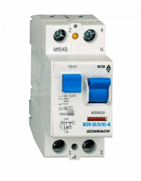 Residual current circuit breaker 40A, 2-p, 100mA, type AC,G