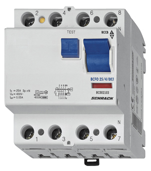 Residual current circuit breaker 63A, 4-p, 30mA, type AC,G,V