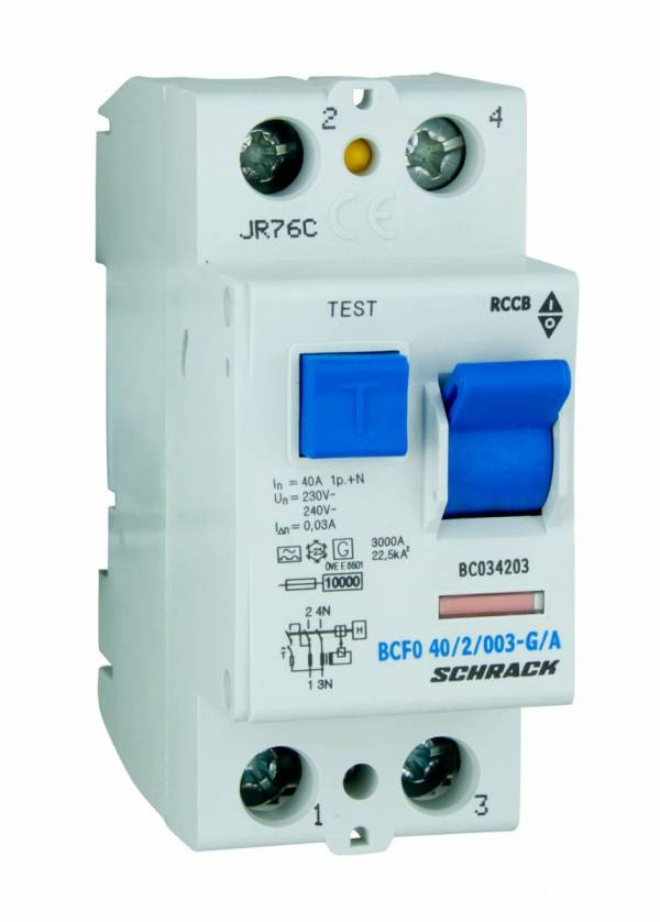 Residual current circuit breaker 40A, 2-pole,30mA, type A,G