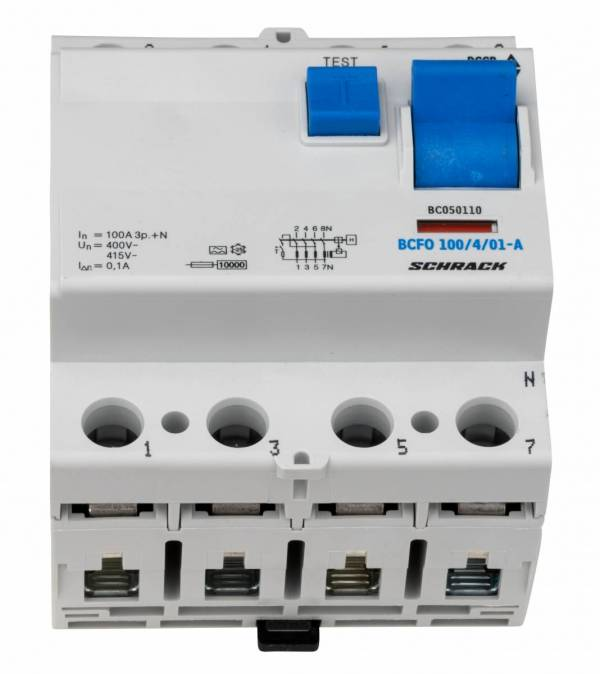 Residual current circuit breaker, 100A, 4-p, 100mA, type A