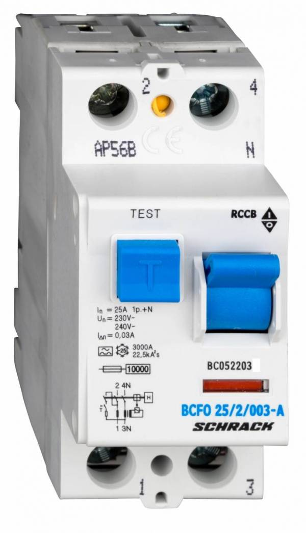 Residual current circuit breaker, 25A, 2-pole,30mA, type A