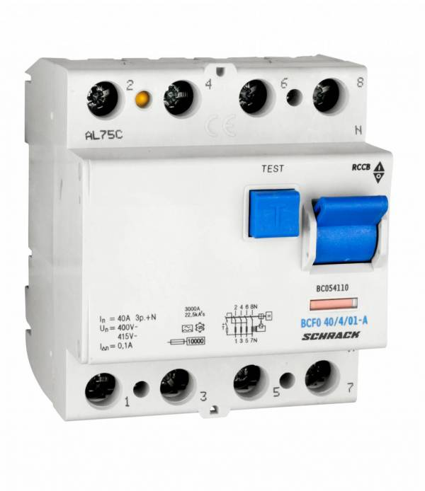 Residual current circuit breaker, 40A, 4-p, 100mA, type A