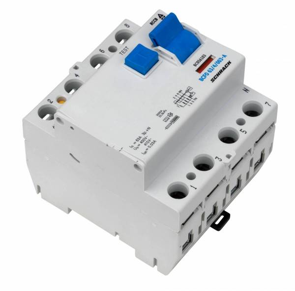 Residual current circuit breaker, 63A, 4-pole,30mA, type A