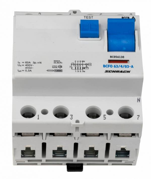 Residual current circuit breaker, 63A, 4-p, 300mA, type A