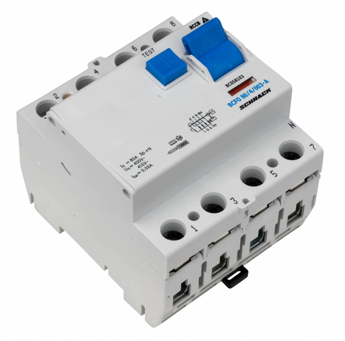 Residual current circuit breaker, 80A, 4-pole,30mA, type A