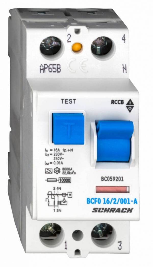Residual current circuit breaker, 16A, 2-p, 10mA, type A
