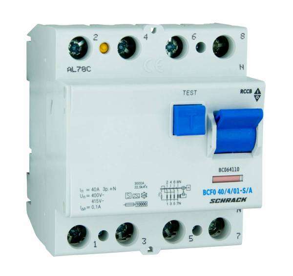 Residual current circuit breaker 40A, 4-p, 100mA, type S,A