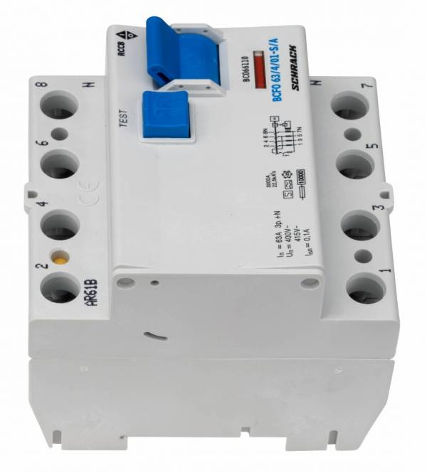 Residual current circuit breaker 63A, 4-p, 100mA, type S,A