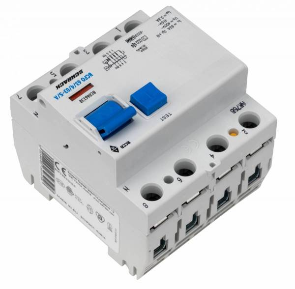 Residual current circuit breaker 63A, 4-p, 300mA, type S, A
