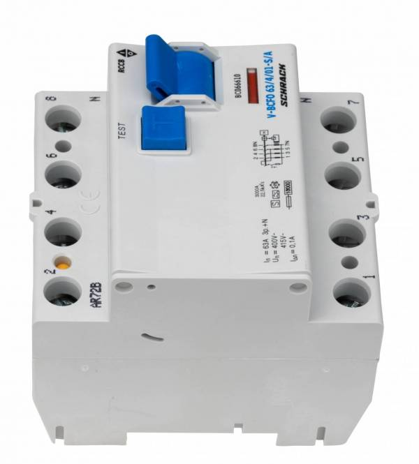 Residual current circuit breaker 63A, 4-p,100mA,type S, A, V