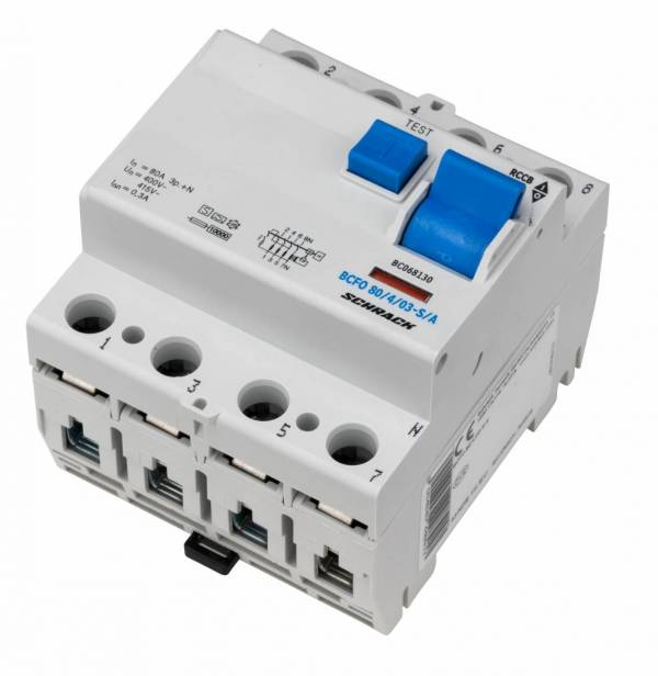 Residual current circuit breaker 80A, 4-p, 300mA, type S,A