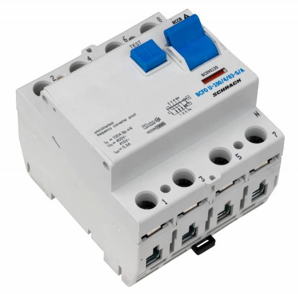 Residual current circuit breaker 100A,4-p,300mA,type S, A,FU