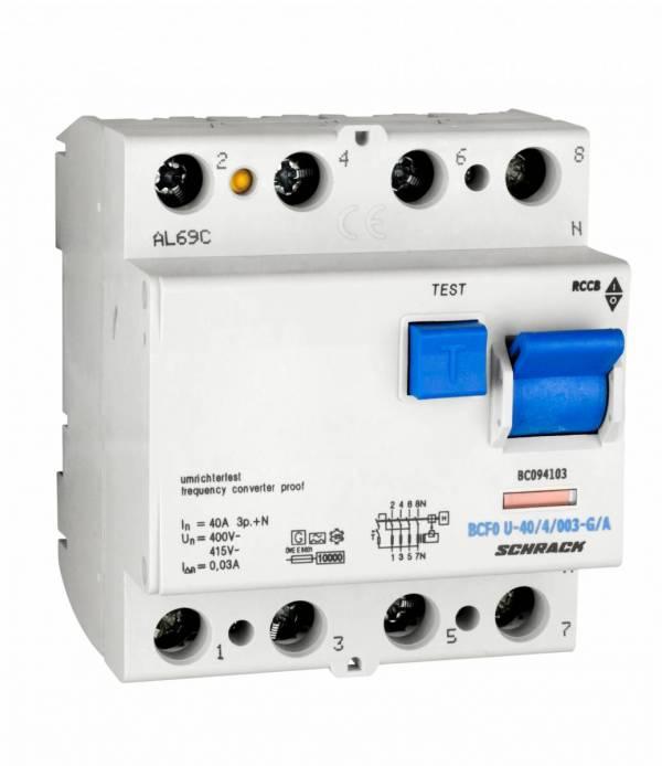 Residual current circuit breaker 40A,4-p,30mA,type A,G, FU
