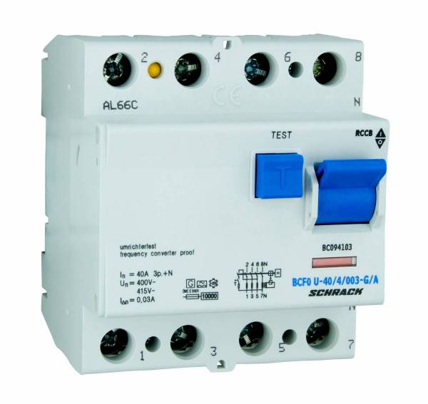 Residual current circuit breaker 40A,4-p,30mA,type A,G, FU
