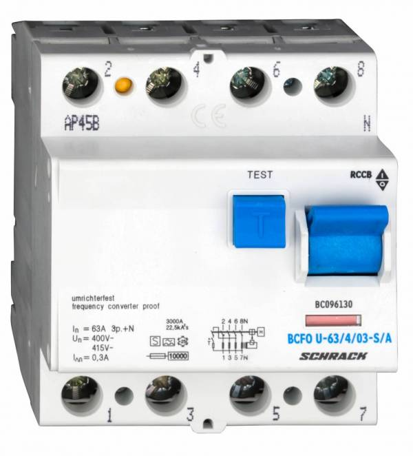 Residual current circuit breaker 63A,4-p,300mA,type A,S, FU