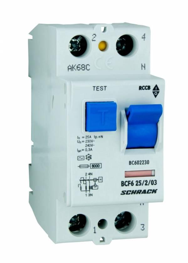 Residual current circuit breaker 25A,2-p, 300mA,type AC, 6kA
