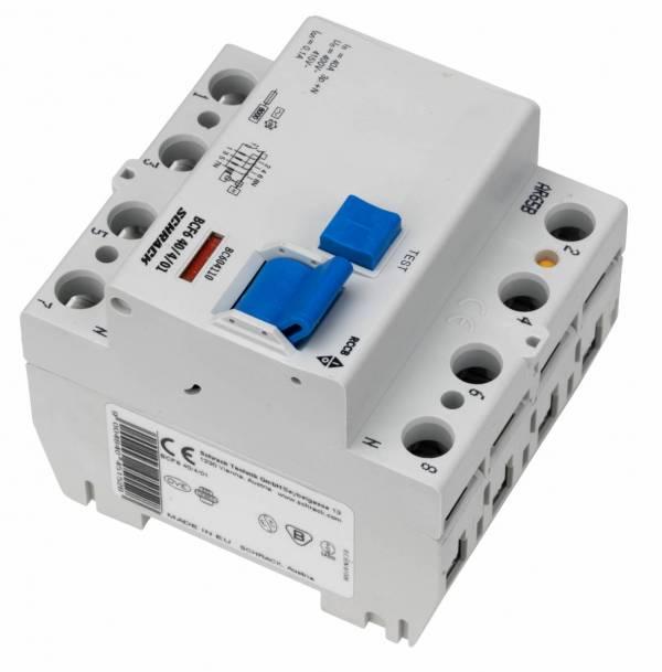 Residual current circuit breaker 40A, 4-p,100mA,type AC,6kA