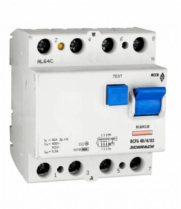 Residual current circuit breaker 40A,4-p, 300mA,type AC, 6kA