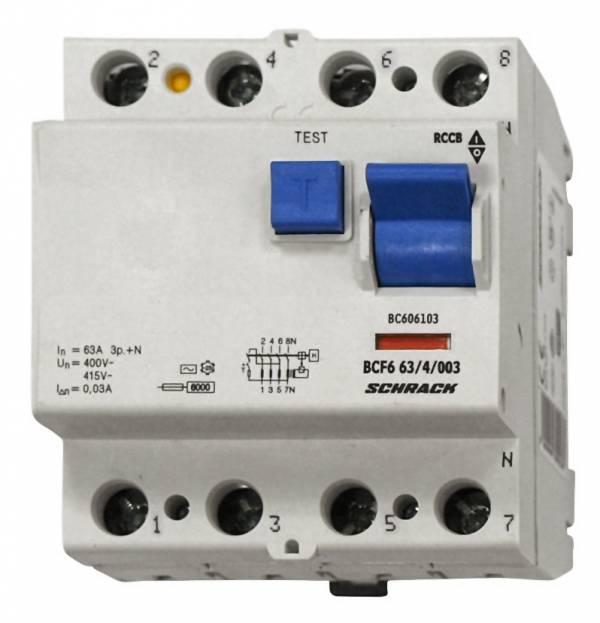Residual current circuit breaker 63A, 4-p, 30mA,type AC, 6kA