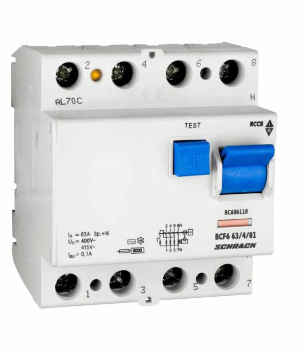 Residual current circuit breaker 63A, 4-p,100mA,type AC,6kA