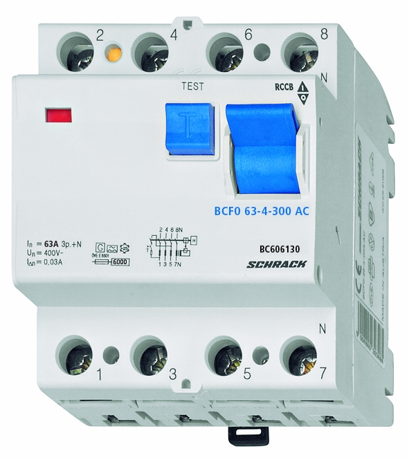 Residual current circuit breaker 63A,4-p, 300mA,type AC, 6kA