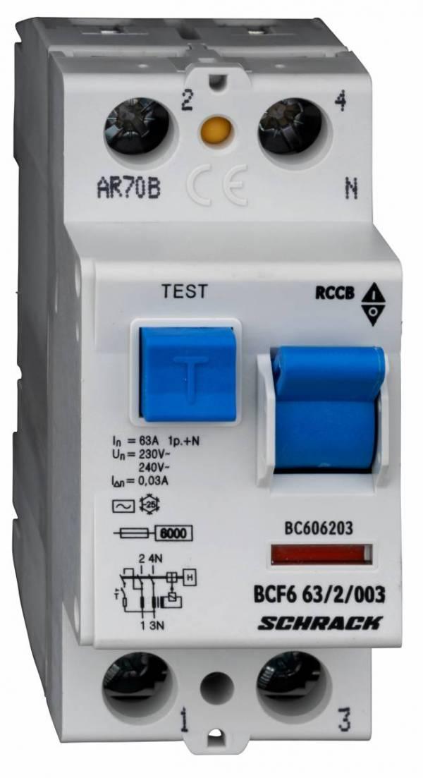 Residual current circuit breaker 63A, 2-p, 30mA,type AC, 6kA
